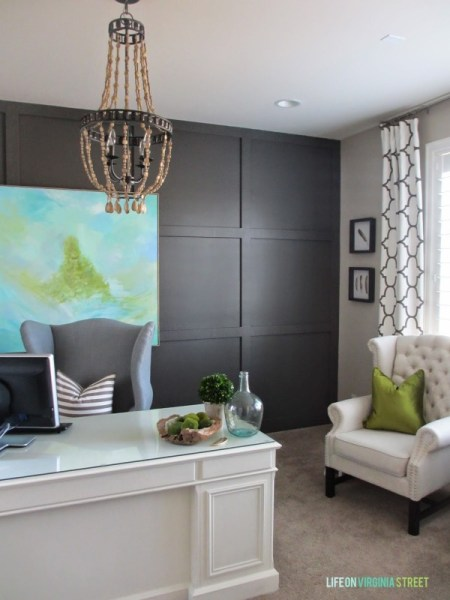 dark gray board and batten accent wall via Remodelaholic