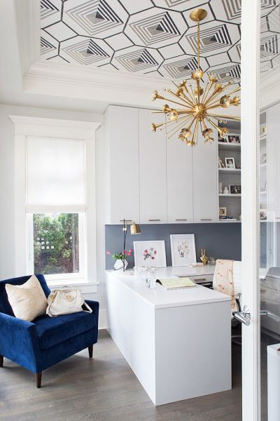 home office-study with wallpapered ceiling