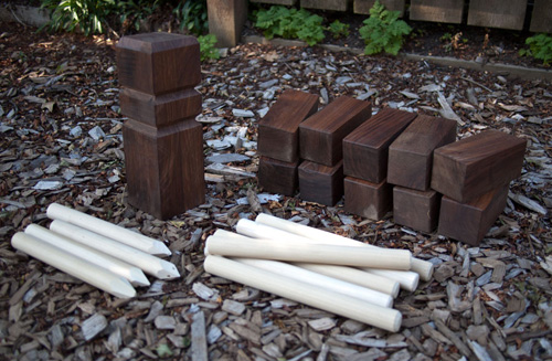 DIY outdoor kubb game