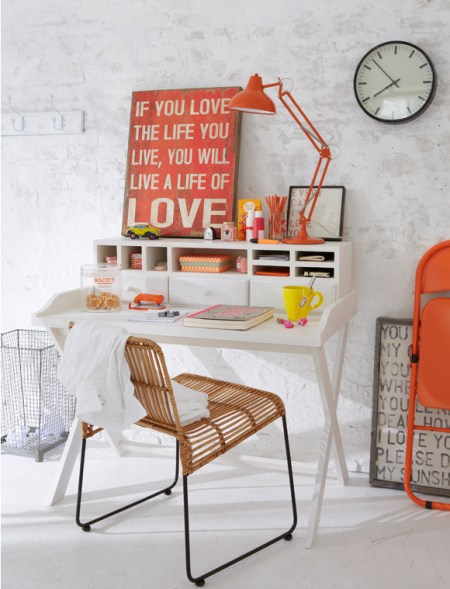 neutral and red home office-study
