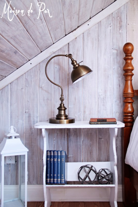 whitewashed plank bedroom wall - Maison de Pax on Remodelaholic.com