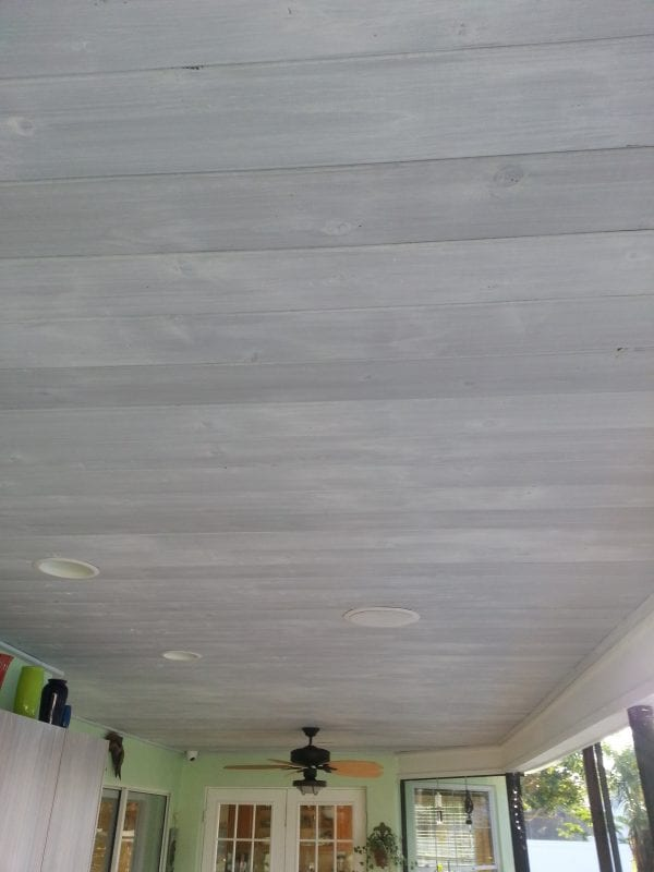 Remodelaholic  How to Whitewash a Plank Wall and Ceiling