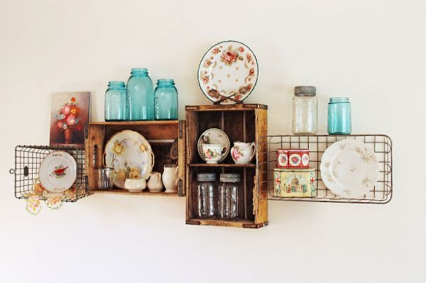 organized kitchen vintage shelving