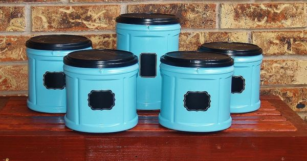 coffee container upcycle for kitchen storage