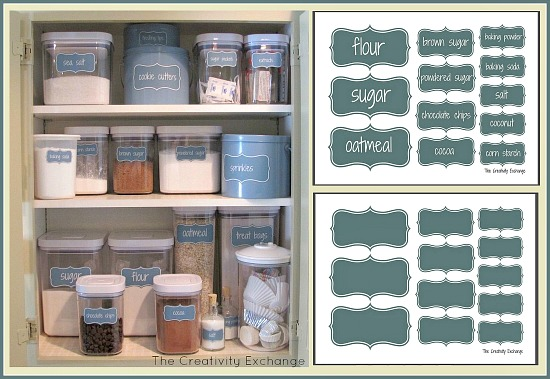 organized baking cabinet printable