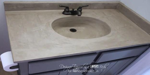 remodelaholic   diy concrete vanity {with integral sink}!