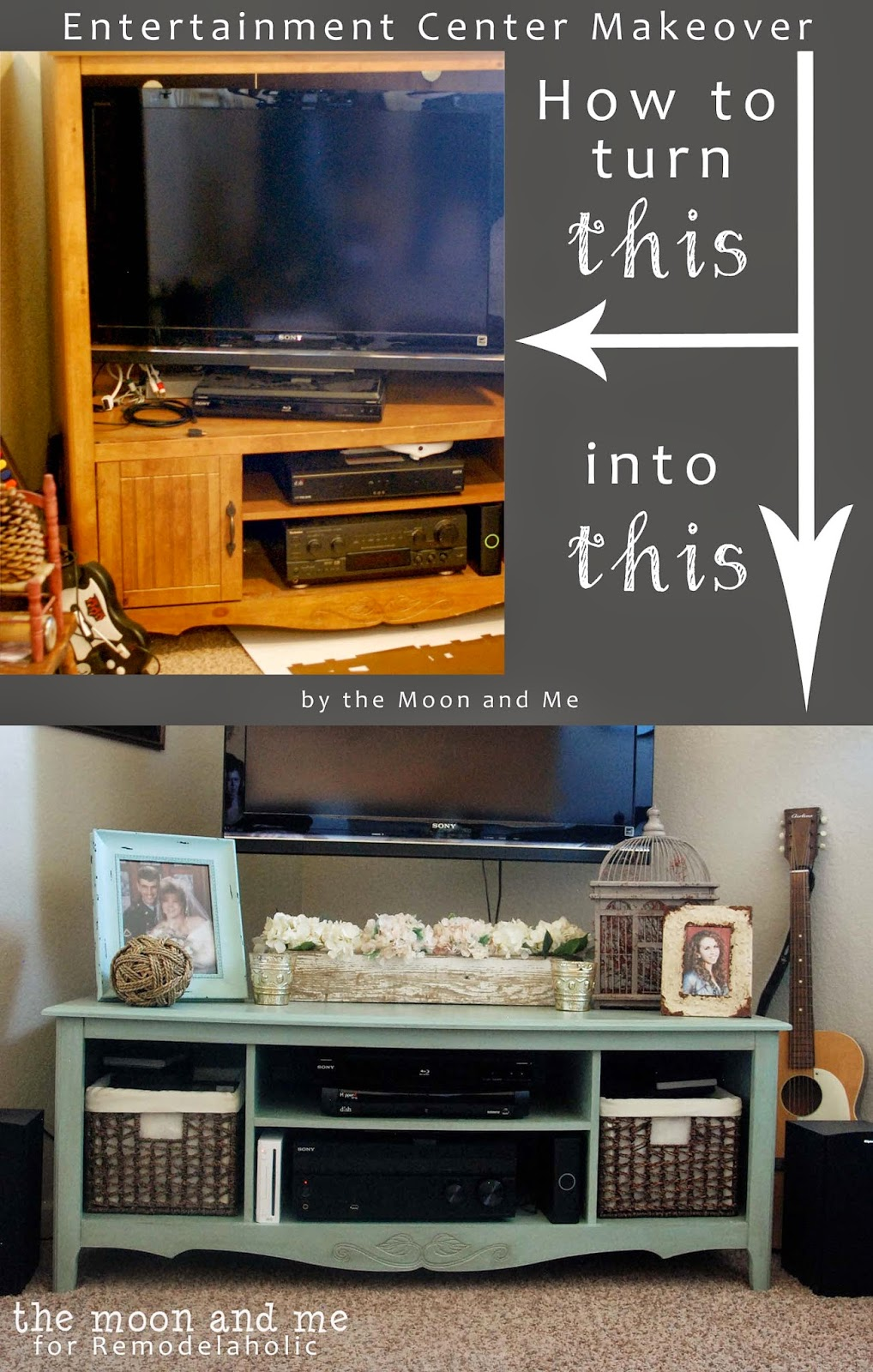 Turn an old entertainment center into a tv console table the moon and me featured