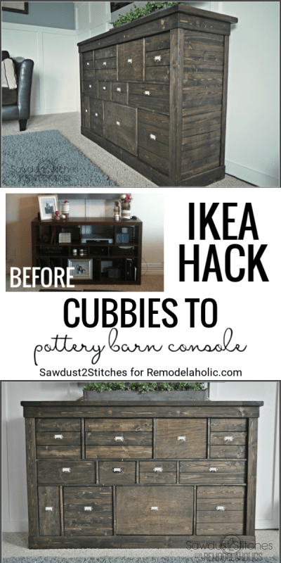 IKEA Cubbies To Pottery Barn Console Featured On Remodelaholic.com