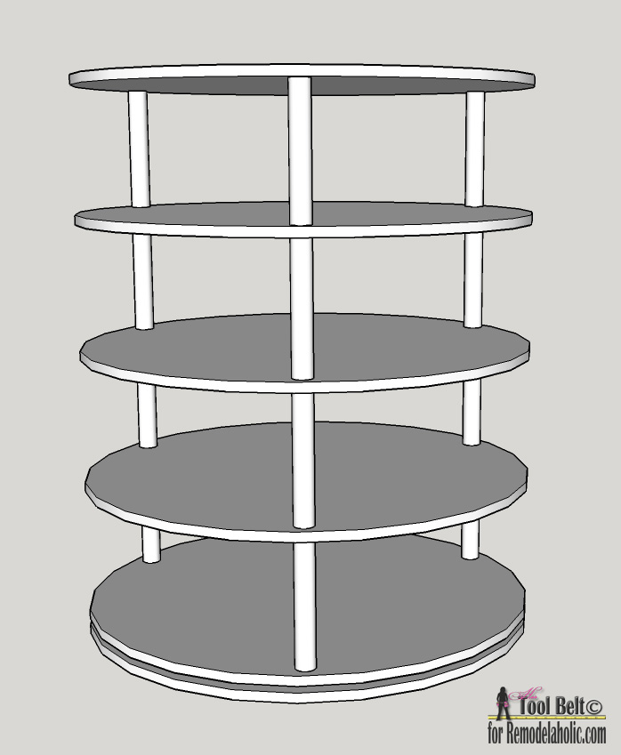 diy rotating shoe rack plans on remodelaholiccom - Shoe Rack Plans