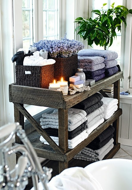 Rustic towel shelf