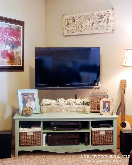 Turn an old entertainment center into a tv console, The Moon and Me on Remodelaholic