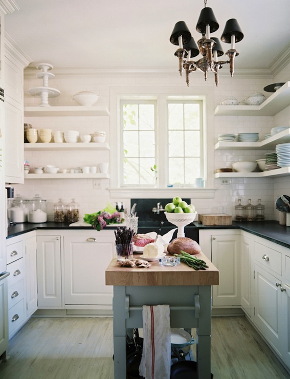 U shaped kitchen layout with open shelving via DecorPad