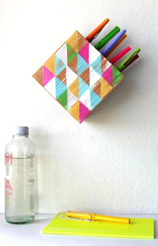 wall hanging pen holder DIY