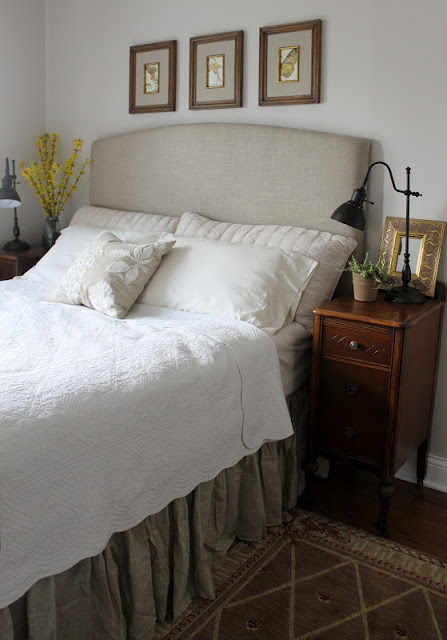 basic arched headboard in linen, Sixty Fifth Avenue