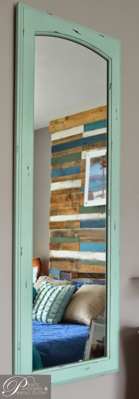 beach inspired plank headboard wall tutorial, Pearls Pinstripes and Peanut Butter on Remodelaholic
