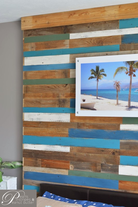 beachy headboard wall tutorial, Pearls Pinstripes and Peanut Butter on Remodelaholic