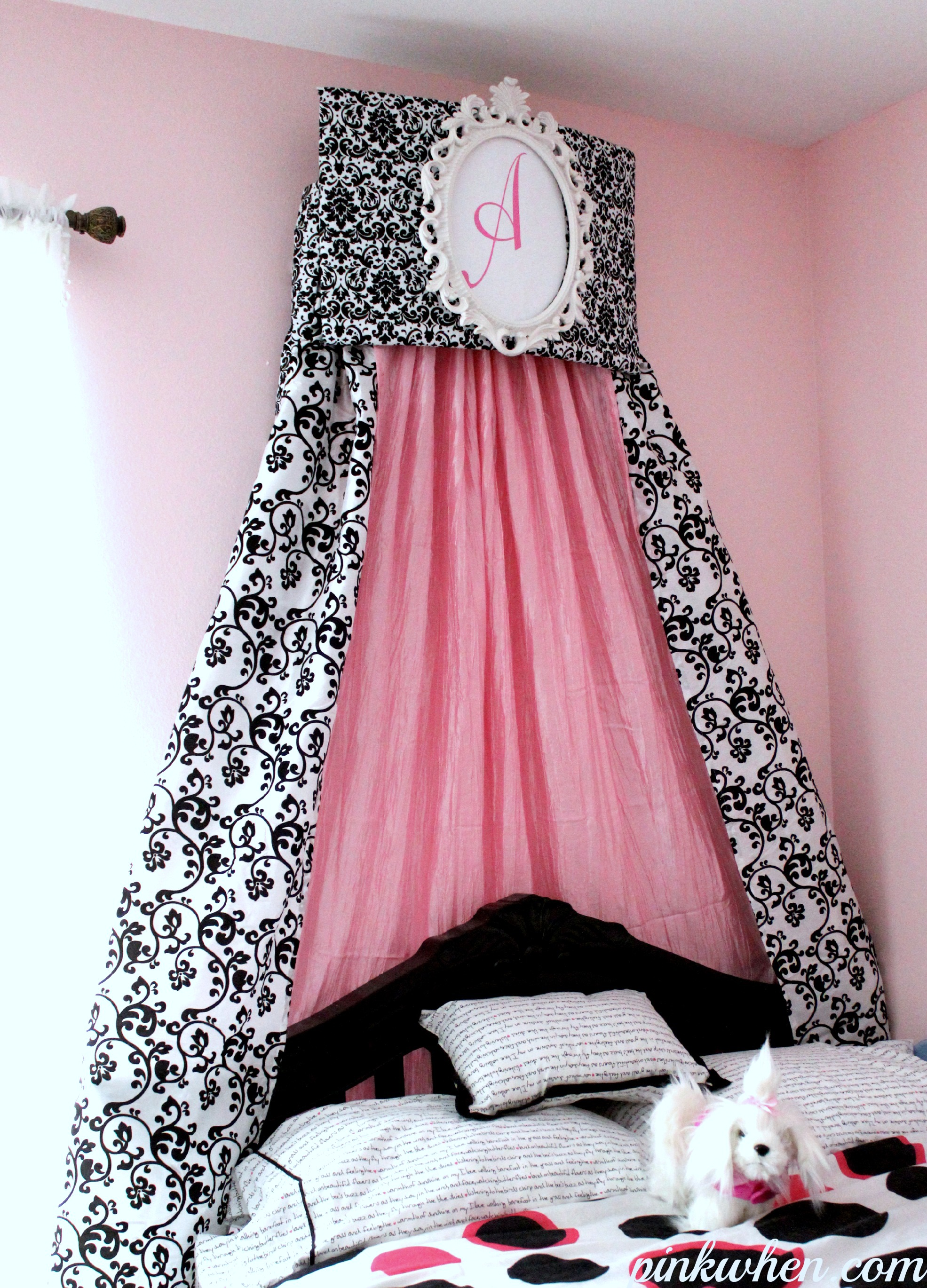black-and-white-crown-cornice-pink-when & Remodelaholic | 25 Beautiful Bed Canopies You Can DIY