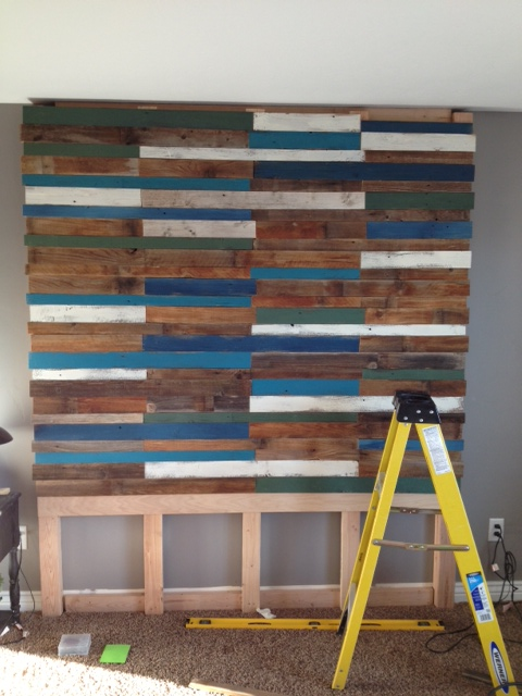 building a colorful blue plank headboard wall, Pearls Pinstripes and Peanut Butter on Remodelaholic