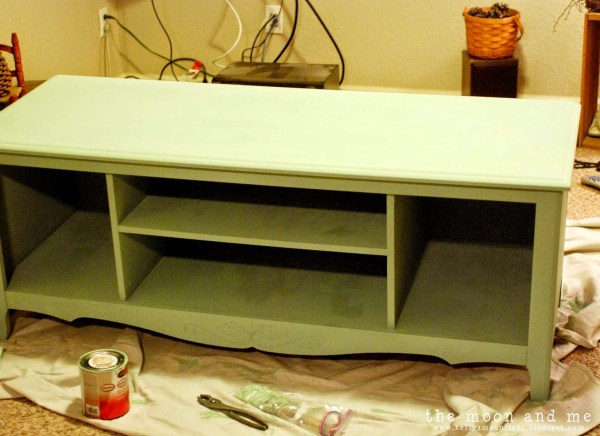 chalk paint for console table made from entertainment center, The Moon and Me on Remodelaholic