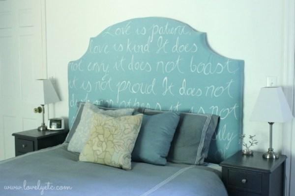 diy upholstered headboard with handwritten verse