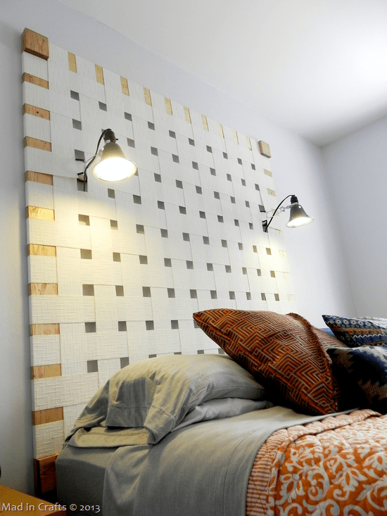 diy woven headboard with lamps, made from vertical blinds