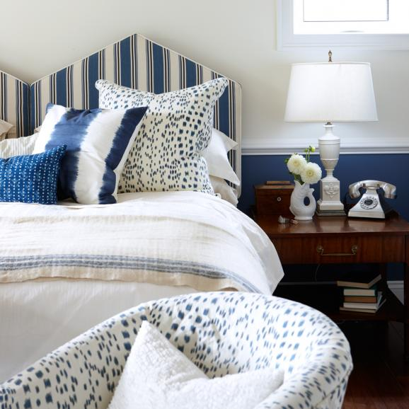 double peaked headboard in stripes via Sarah Richardson Design
