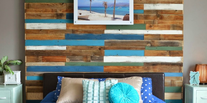 Remodelaholic Colorful And Rustic Plank Headboard Wall
