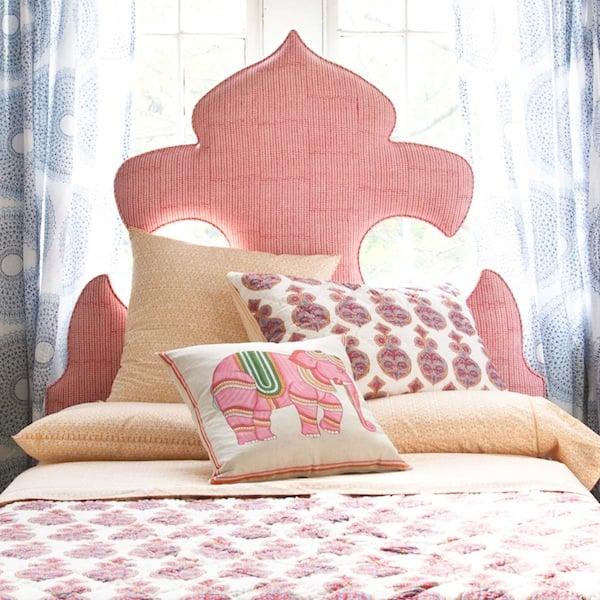 fleur de lis moroccan inspired ornate headboard, John Robshaw via So Haute Style