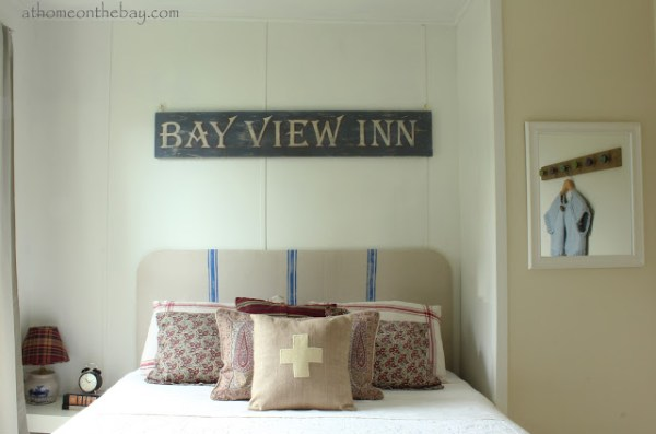 french linen striped rounded square headboard via Remodelaholic