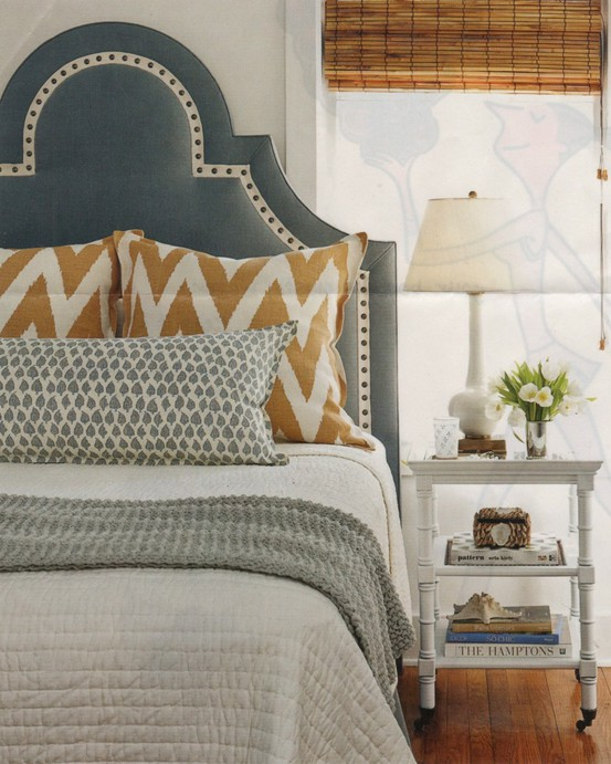 gray with contrast white nailhead trim keystone headboard via DecorPad