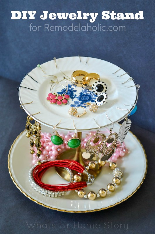jewelry stand made from plates on Remodelaholic.com
