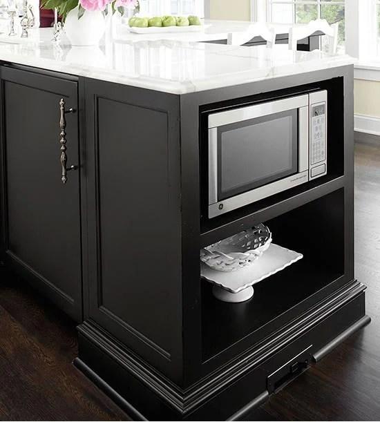 kitchen island with appliance storage via BHG
