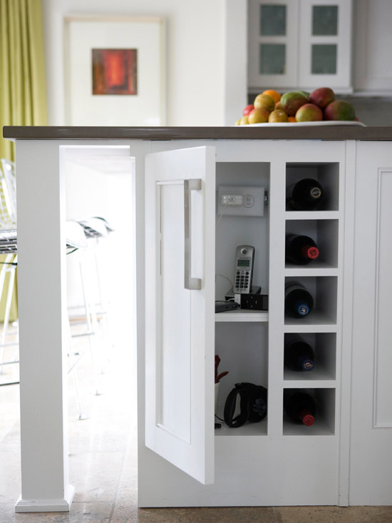 kitchen island with charging station and storage via Decorpad
