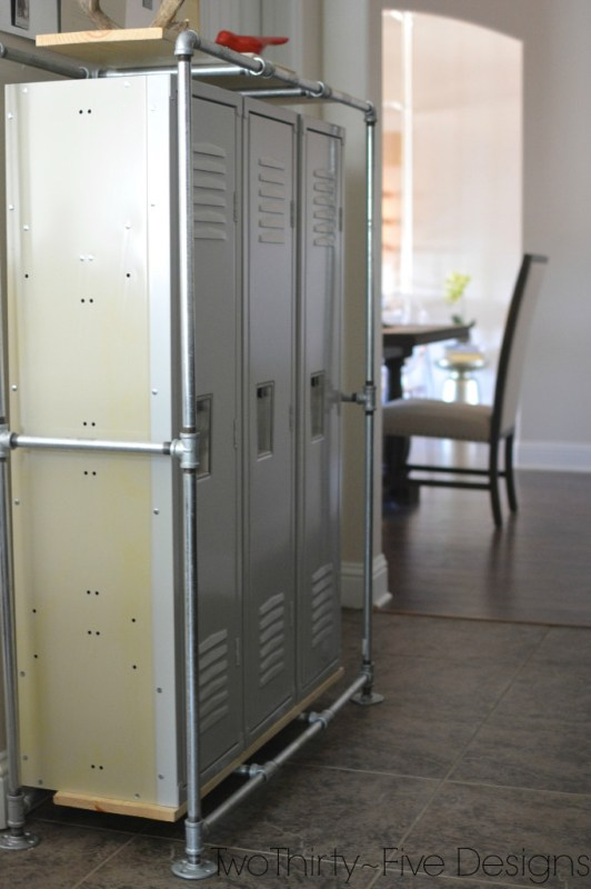 lockers in mudroom, Two Thirty Five Designs on Remodelaholic