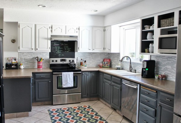 peninsula kitchen layout in gray via Remodelaholic