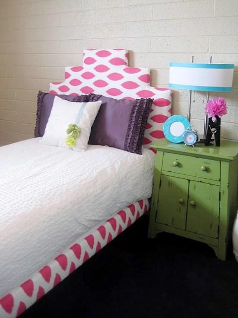 pink patterned stepped headboard IKEA hack via Remodelaholic