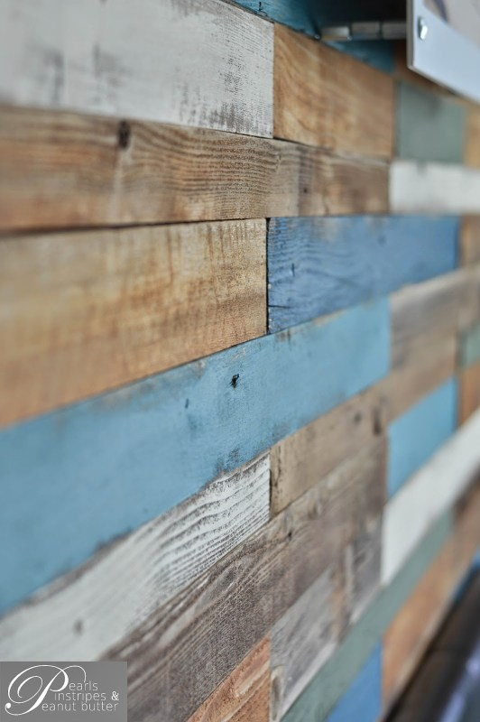 rustic and blue painted plank headboard wall, Pearls Pinstripes and Peanut Butter on Remodelaholic