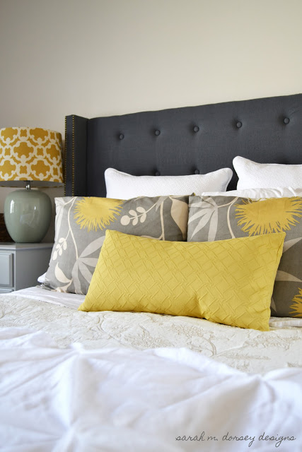 square winged tufted headboard in black by Sarah M Dorsey Designs
