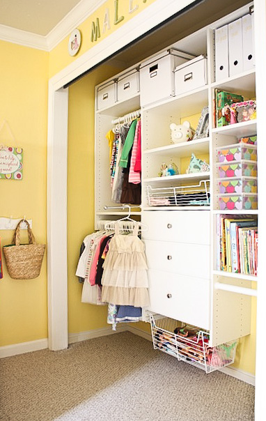Organized Custom Kids Closet with Toy Storage