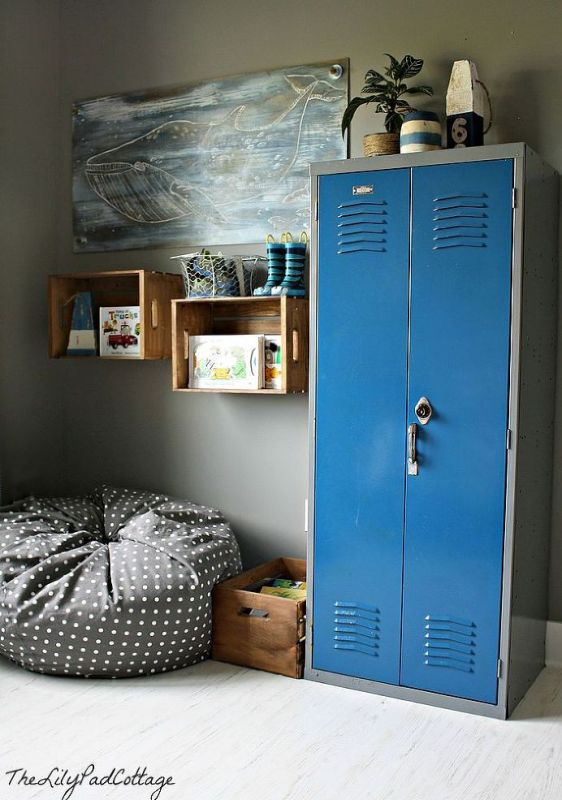 Nautical Boys Room With Toy Shelf