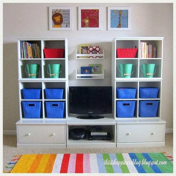 Bright Organized Playroom Storage