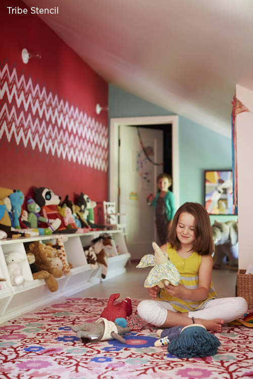 Stencilled Playroom