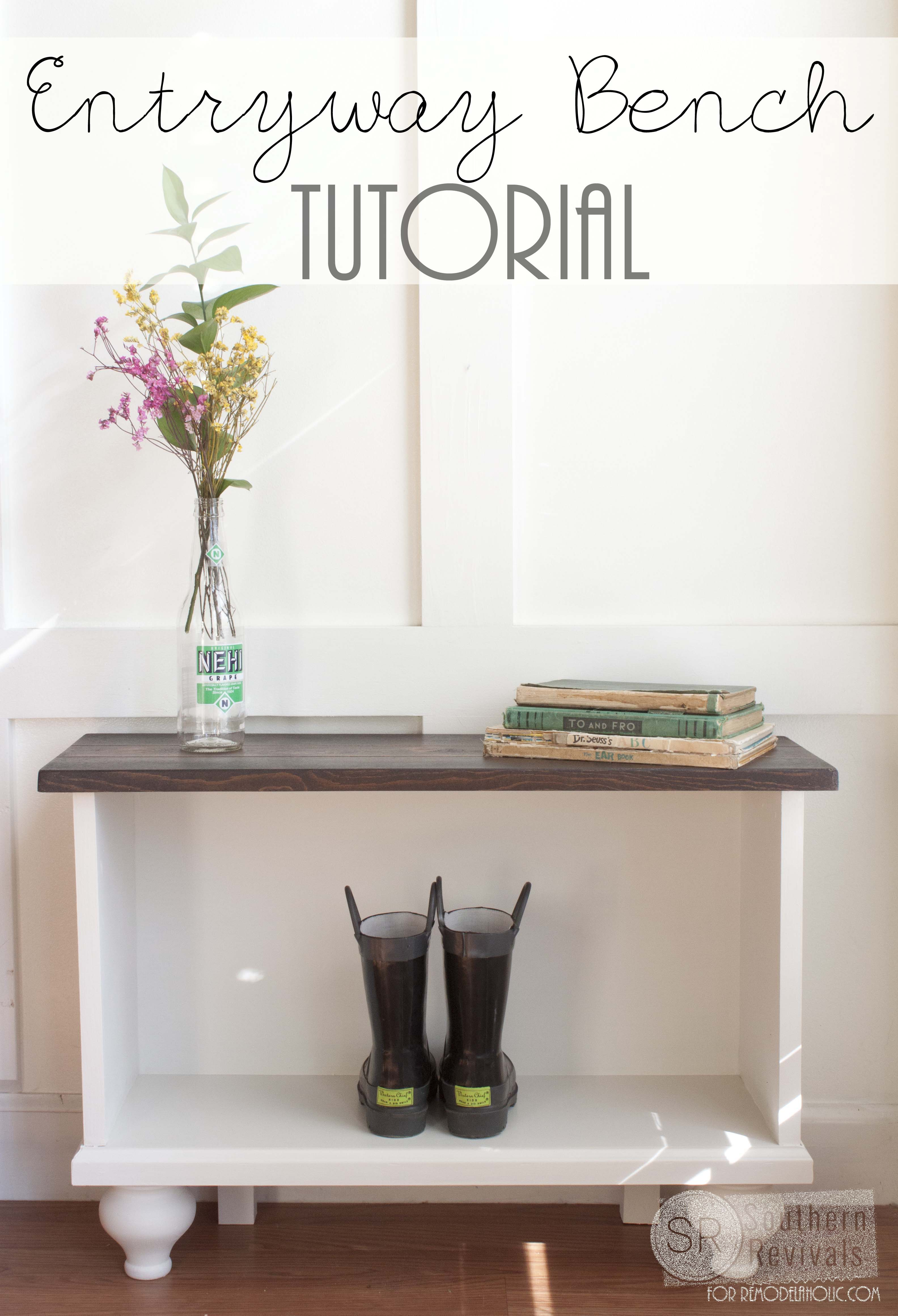 Build This Easy Entryway Bench With Storage! Free Building Plans On  Remodelaholic.com #