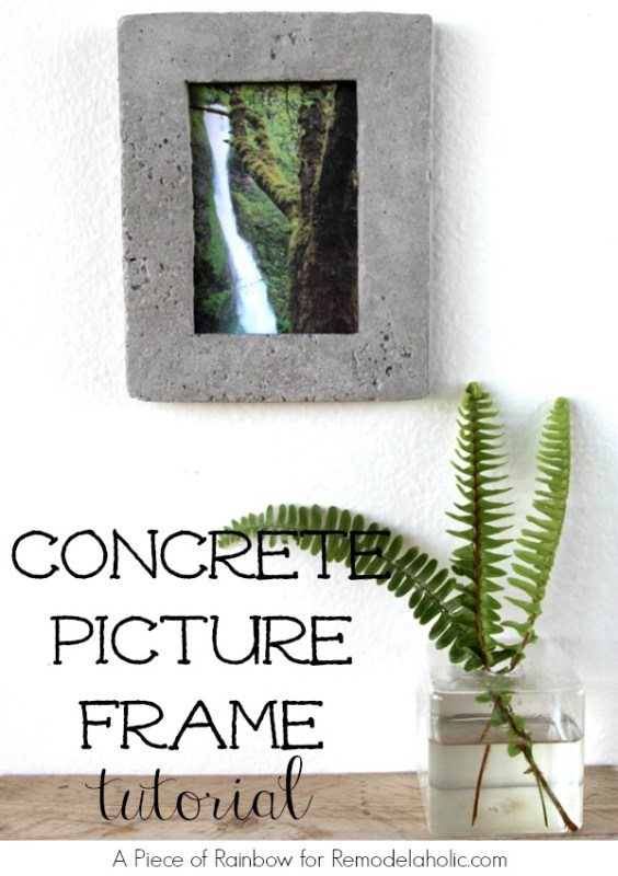 DIY Concrete Picture Frame   A Piece of Rainbow for Remodelaholic.com #diy #industrial