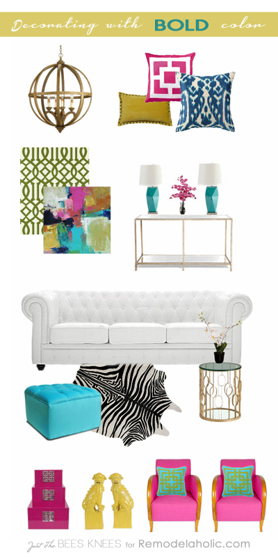Tips on decorating with BOLD color by Just The Bees Knees for Remodelaholic.com #moodboard #decorate #colors