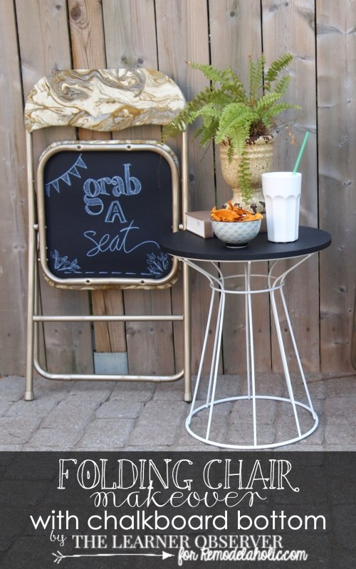 FOLDING CHAIR MAKEOVER for Remodelaholic.com #diy #upcycle #chalkboard #reupholster
