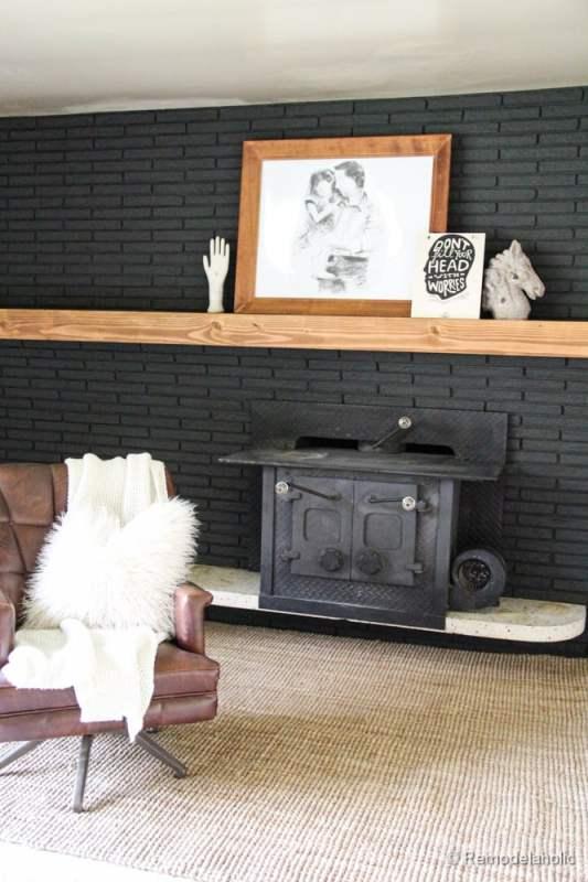 remodelaholic painted black brick fireplace. Black Bedroom Furniture Sets. Home Design Ideas