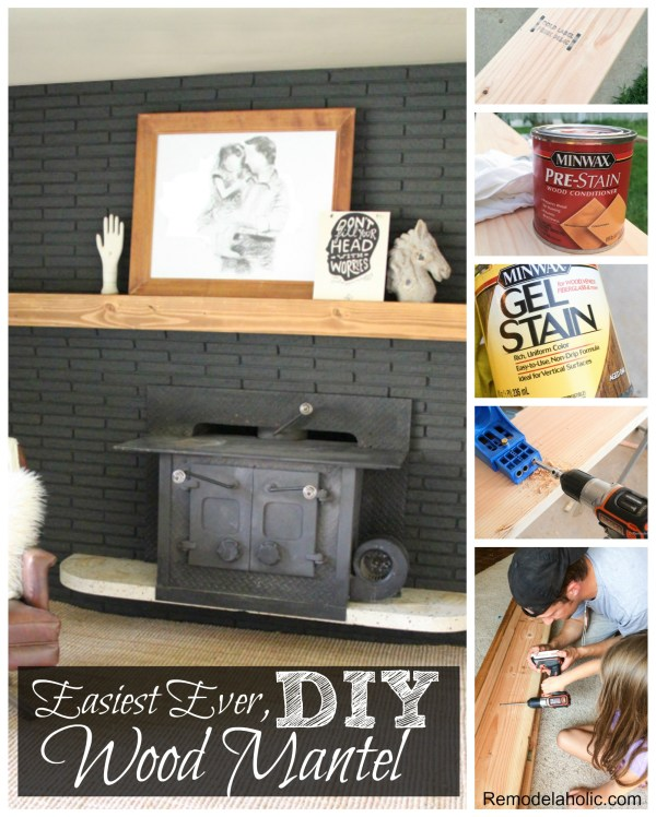 How to make the easiest ever DIY wood mantel @remodelaholic #fireplace #black #brick 2