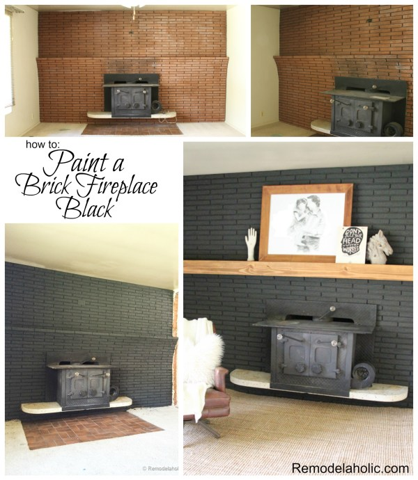 How to paint a brick fireplace Black