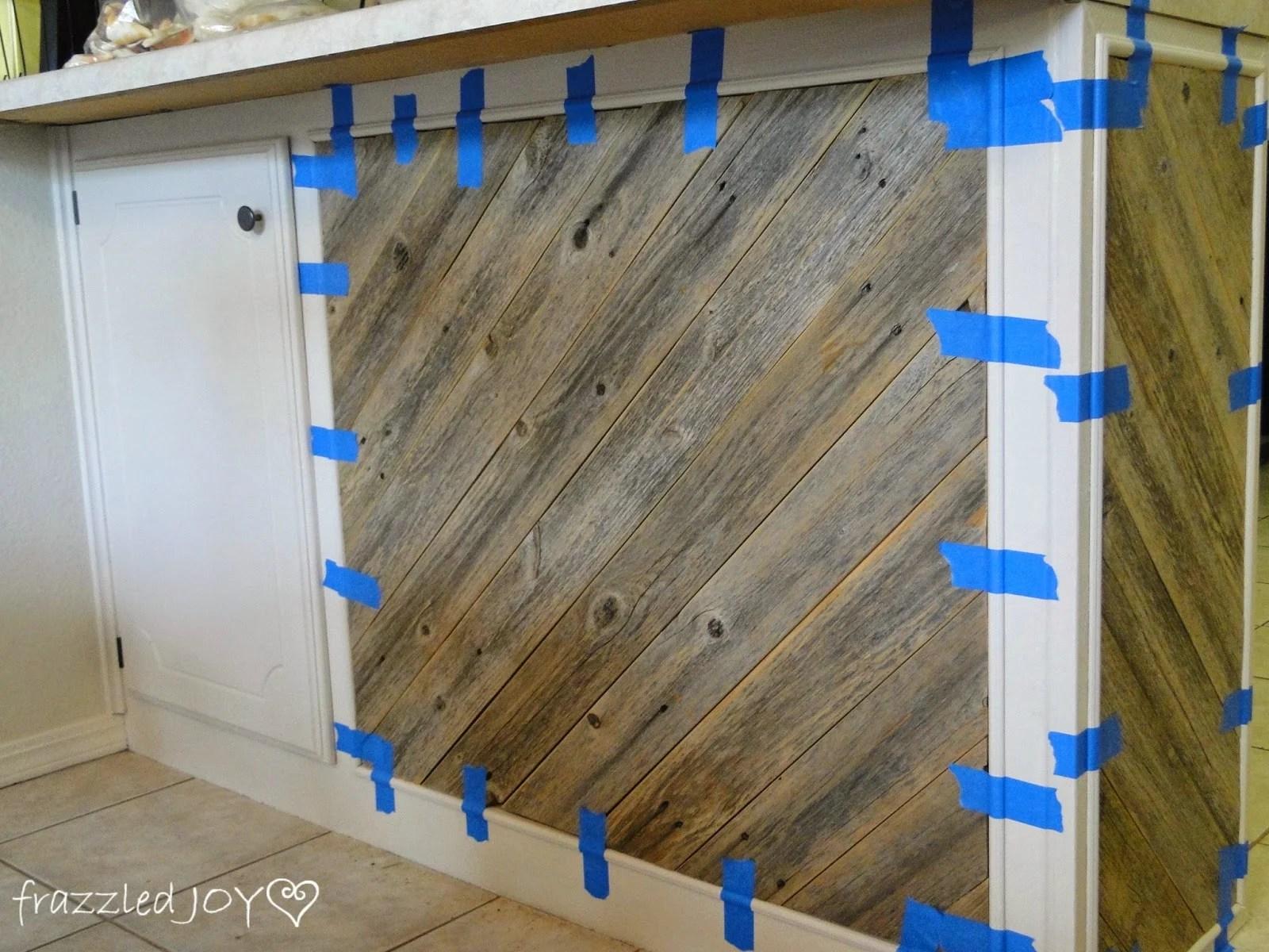 adding trim to reclaimed wood plank kitchen island frazzled joy on remodelaholic remodelaholic   diagonal planked reclaimed wood kitchen island  rh   remodelaholic com